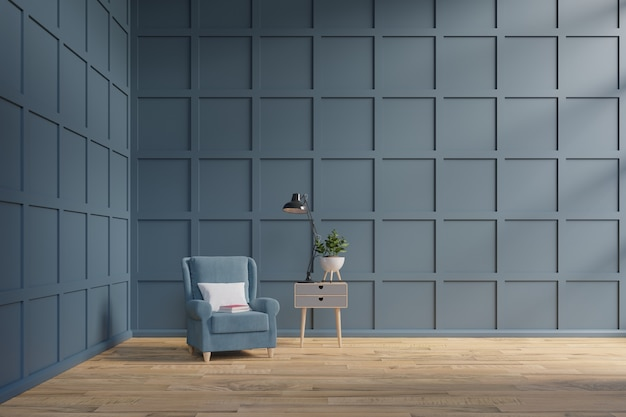 Lege ruimte met één leunstoel, donkere muur