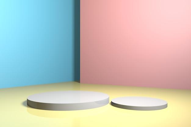 Lege ruimte met geometrische vormen staan en lege muren realistische 3d illustratie voor producten