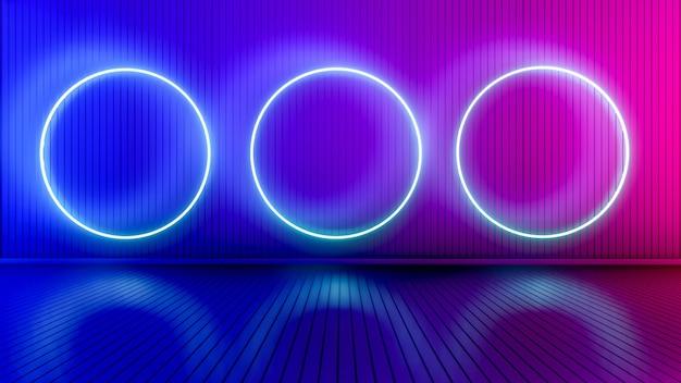 Lege ruimte met gloeiende lijnen. binnenlandse achtergrond met gloeiende lijnen. neon lichten. 3d-weergave