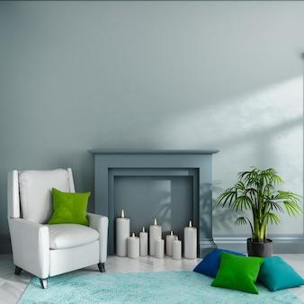 Lege ruimte met grijze muur, open haard, kaarsen, fauteuil, kussens, tapijt en plant. scandinavisch interieur. . 3d render illustratie.