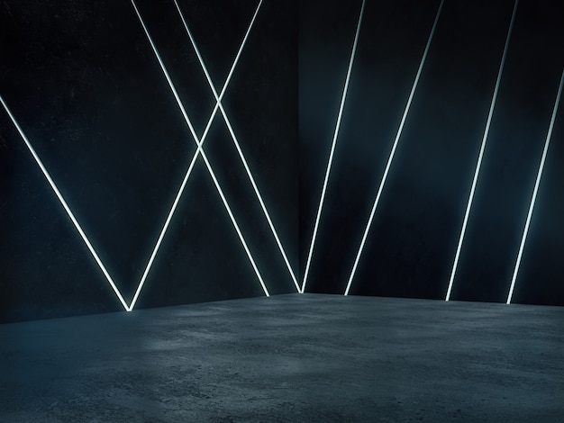 Lege ruimte met lichte gloed, abstracte ruimte. 3d-rendering