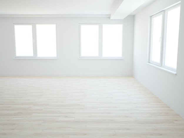 Lege ruimte met ramen en houten vloer