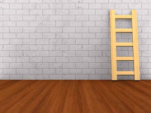 Lege ruimte met trap. houten vloer en bakstenen muur. 3d illustratie