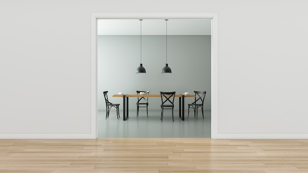Lege ruimte met zoldertafel en stoelen