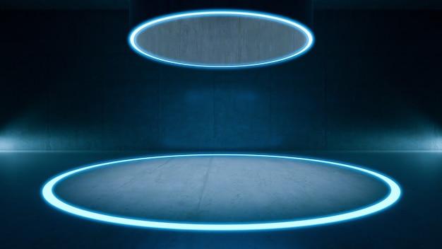 Lege ruimte, mock-up van cirkel lichte vloer en concrete ruimte. abstracte architectuurachtergrond.