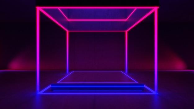 Lege ruimte, rechthoekig lichtmodel en betonnen muur. abstracte architectuurachtergrond.