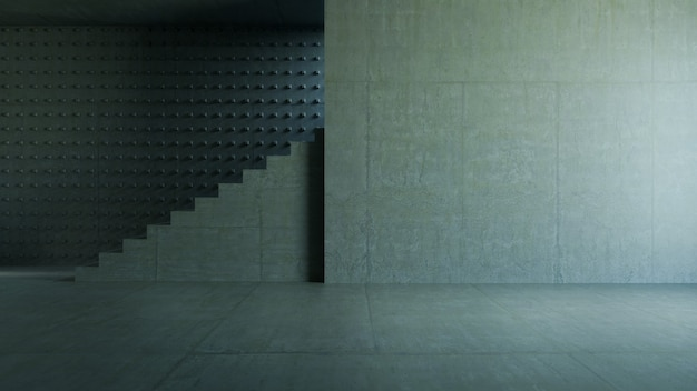 Lege ruimte, trapbeton en cementmuur. abstracte architectuurachtergrond