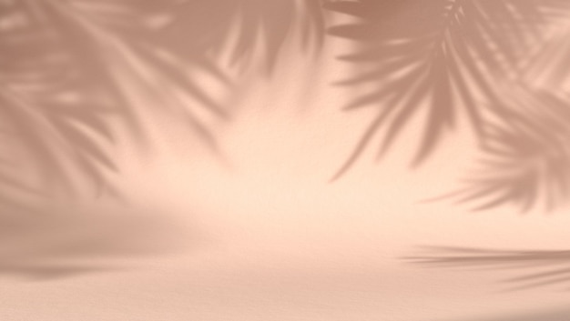Lege ruimte voor cosmetisch product op pastel natuurlijke achtergrond met schaduwbladeren