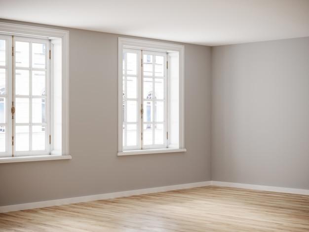 Lege ruimte voor mockup. lege roon met lichte muur en houten vloer. 3d-rendering.