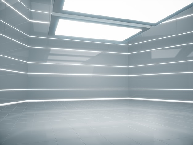 Lege ruimte voor product show in futuristische kamer