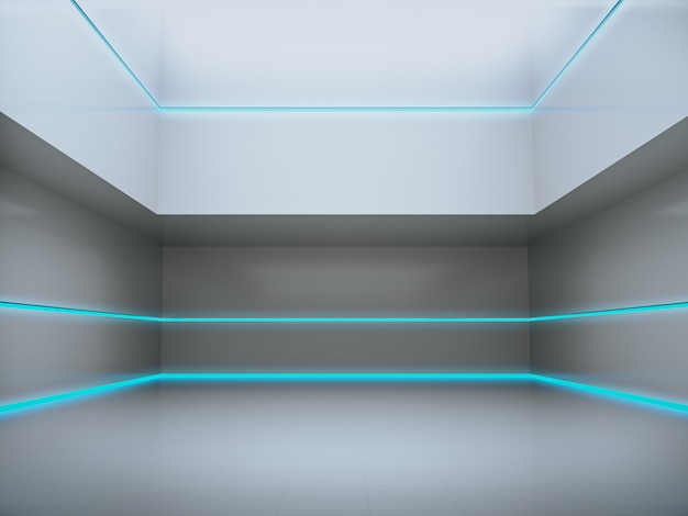 Lege ruimte voor product showcase op futuristische kamer