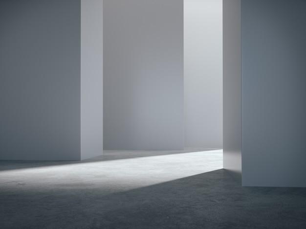 Lege ruimte voor productshowcase in witte ruimte.