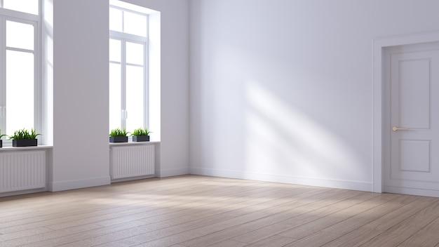 Lege ruimte witte muur en houten vloer