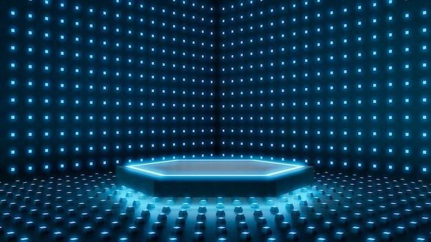 Lege ruimte, zeshoekig podiummodel en labstract verlichtingspuntachtergrond.