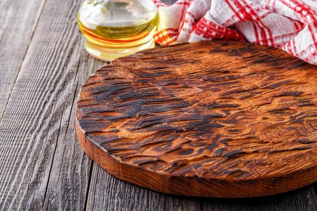 Lege snijplank. concept van koken.