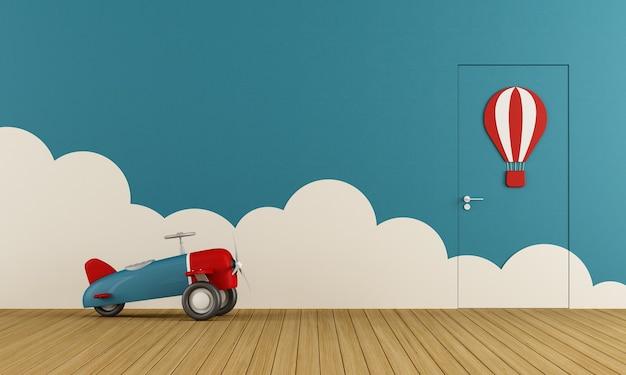 Lege speelkamer met speelgoedvliegtuig op houten vloer, wolken en gesloten deur. 3d-weergave