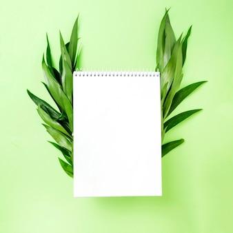 Lege spiraalvormige blocnote met bladeren aan kant over groene achtergrond