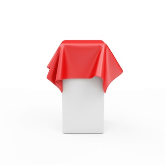 Lege standaard bedekt met rode stoffen stof