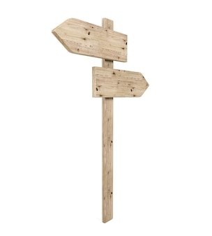 Lege tegenovergestelde richting houten pijl teken, 3d-rendering