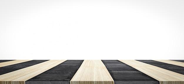 Lege top van zwarte steen marmer en houten tafel op witte muur. kan worden gebruikt voor productweergave