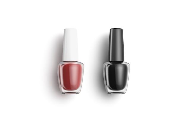 Lege transparante fles met zwarte en rode nagellak liegen