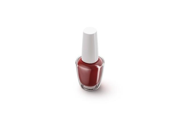 Lege transparante glazen fles met rode nagellak, geïsoleerd