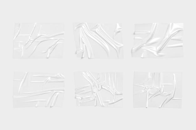 Lege transparante plastic folie overlay mockup lege polymeerfilm effect mock up