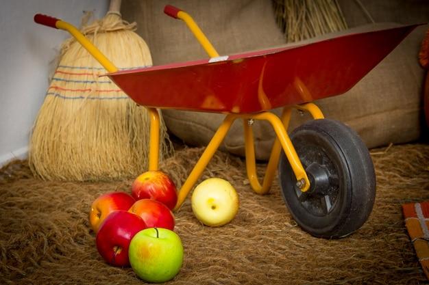 Lege tuinwagen, kruiwagen. oud metaalkarretje op droog gras.