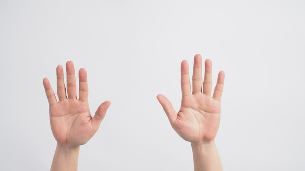 Lege twee handen spreidt zich uit op witte achtergrond.