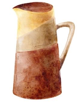 Lege vaas aquarel illustratie. met de hand beschilderd terracotta keramiek geïsoleerd op een witte achtergrond