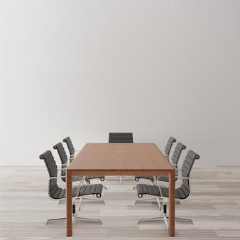 Lege vergaderzaal met stoelen, houten tafel
