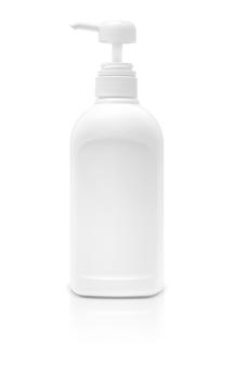 Lege verpakkende kosmetische die pompfles op witte achtergrond wordt geïsoleerd