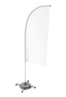 Lege verticale vlag op een paal om aan te passen. stand vlag geïsoleerd op wit. 3d-weergave.