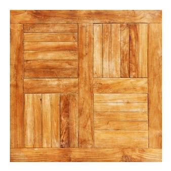 Lege vierkante houten tafel oppervlak van bovenaf geïsoleerd op de witte achtergrond