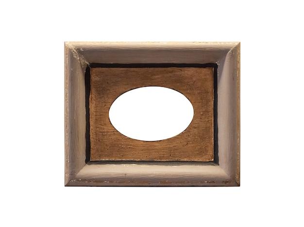 Lege vintage houten foto fotolijst geïsoleerd op een witte achtergrond