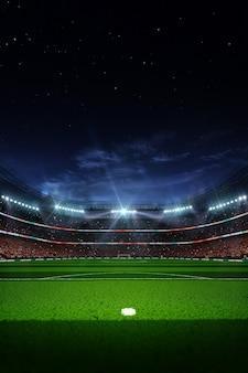 Lege voetbal voetbalstadion 's nachts 3d render