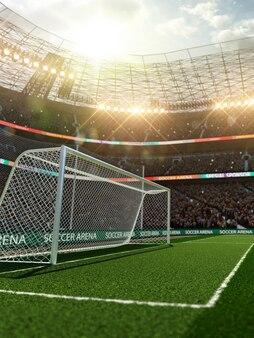 Lege voetbaldoelen op stadion met fans in de schijnwerpers