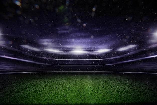 Lege voetbalstadion 's nachts 3d render