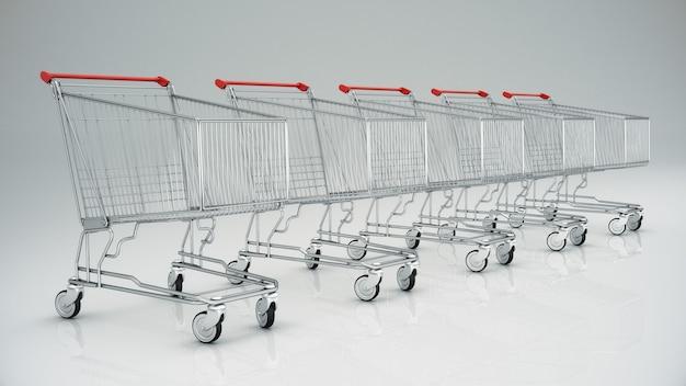 Lege winkelwagen 3d render
