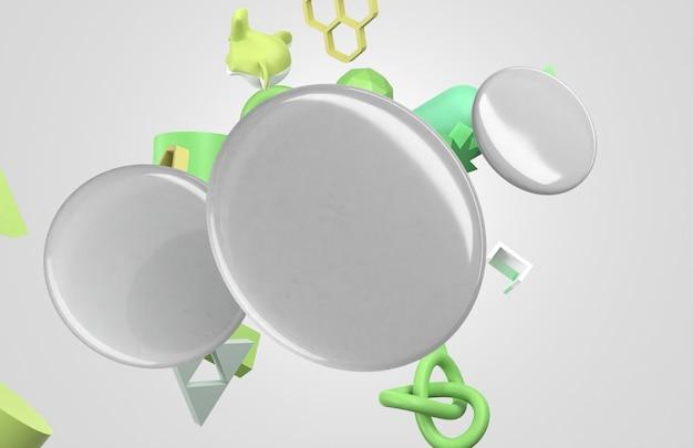 Lege witte 3d badges met groene vormen