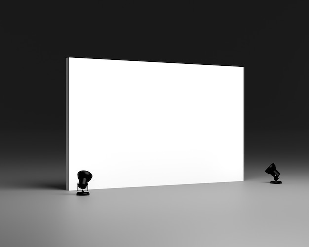 Lege witte achtergrond en bannerontwerp. textiel en weefsel van het concept van de reclamebanner of mediavertoningsachtergrond. 3d render illustratie.
