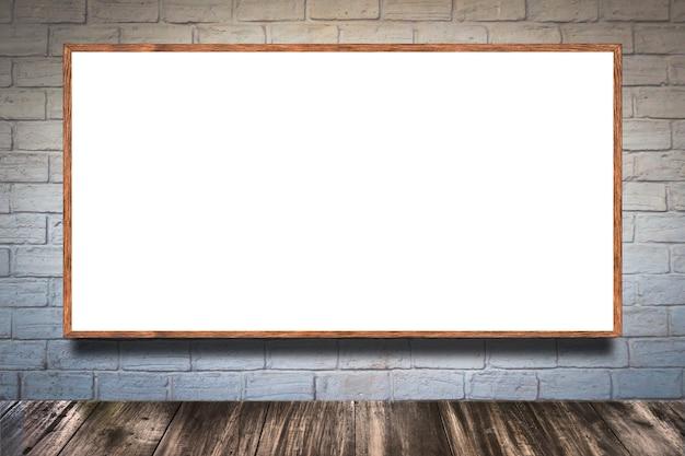 Lege witte afbeeldingsframe op de witte bakstenen muur en de vintage vloer