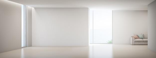 Lege witte betonnen muur in vakantiehuis of vakantievilla.