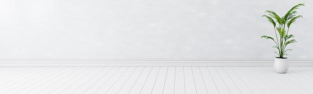 Lege witte binnenlandse ruimtebanner als achtergrond, lege witte muren c witte houten vloer brede banner, exemplaar ruimtevertoningproduct van huidig reclamebannerproductontwerpmodel. 3d-afbeelding