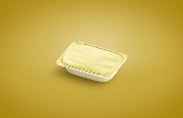 Lege witte boter doos, geïsoleerd op gele ondergrond