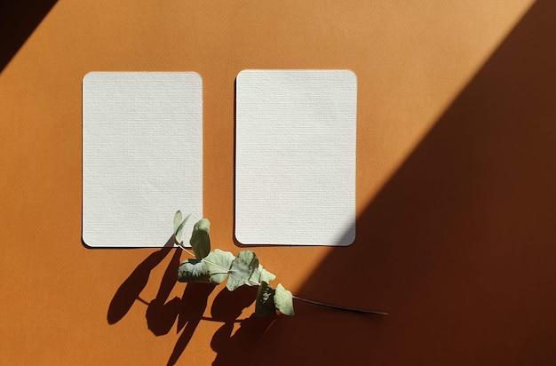 Lege witte bruiloft groet uitnodigingskaarten modellen met gedroogde bladeren van planten en kruiden op getextureerde terracotta tafel achtergrondkleur. elegante moderne sjabloon voor branding identiteit. plat lag, bovenaanzicht