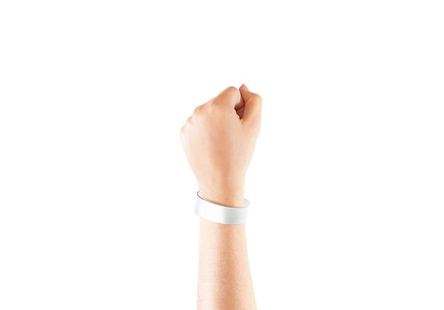 Lege witte chroma luxe armband bij de hand, geïsoleerd