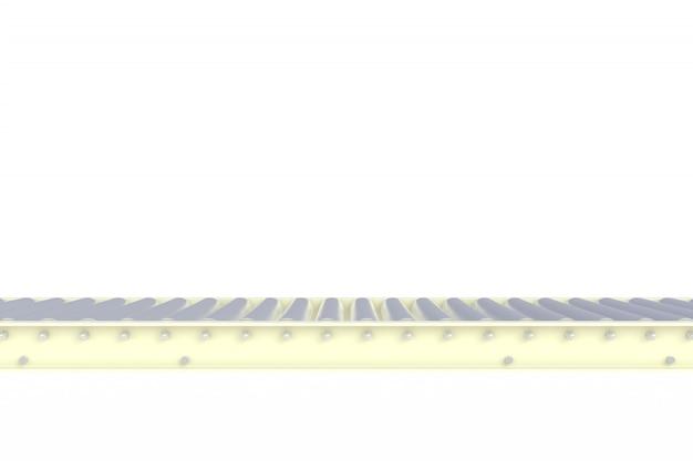 Lege witte die transportbandlijn op een witte achtergrond wordt geïsoleerd
