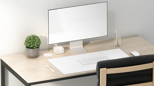 Lege witte display en bureaumat voor muis en toetsenbord, 3d-rendering. lege werktafel met computerscherm en tapijt voor toetsenbord zijaanzicht. duidelijk accessoire voor internetgebruiker
