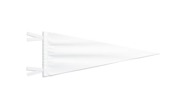 Lege witte driehoekige wimpel, geïsoleerd, 3d-rendering. duidelijke klassieke penant, bovenaanzicht. lege vlag hanger